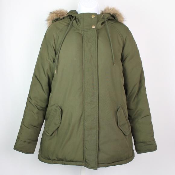 Old Navy Jackets & Blazers - Old Navy olive green parka faux fur hood jacket